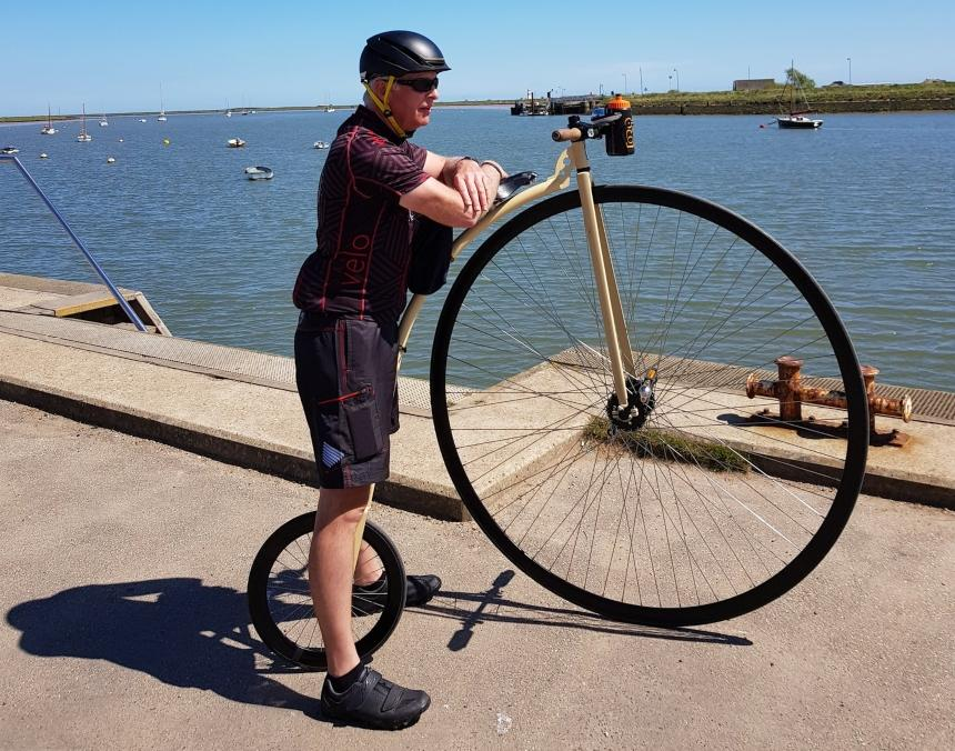 Peter with a Penny Farthing bike