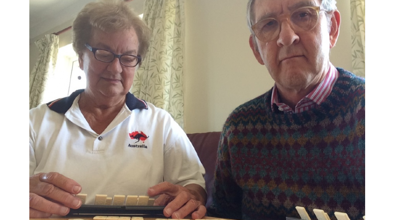 Keith and Rosemary playing a board game
