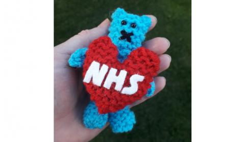 NHS Show You Care Snuggle Bear knitted fidget toy