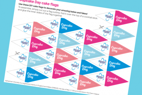 Print off Cupcake Day cake flags