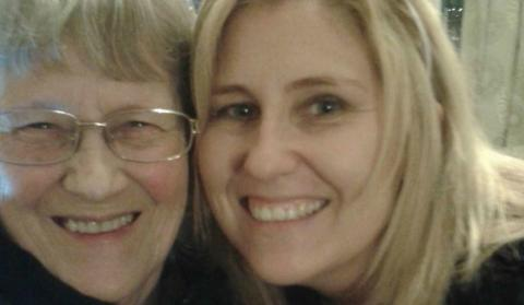 Christine and her mum Teresa smiling