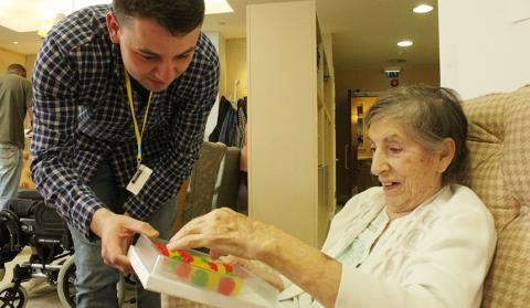 Lewis with Jelly Drops for his grandmother