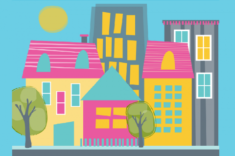 Brightly coloured animated houses in a row with trees