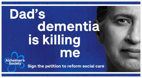 Preview of a Dementia Action Week Facebook banner: 'Dad's dementia is killing me'