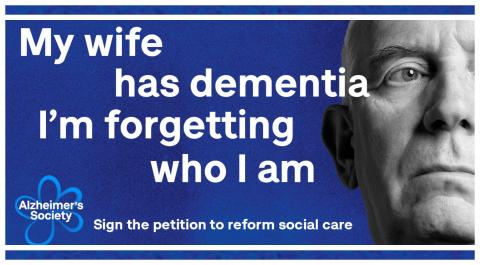 Preview of a Dementia Action Week Facebook banner: 'My wife has dementia. I'm forgetting who I am'