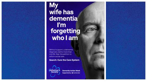 Preview of Dementia Action Week poster 'My wife has dementia I'm forgetting you I am'