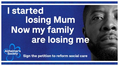 Preview of a Dementia Action Week Facebook banner: 'I started losing Mum, Now my family are losing me'
